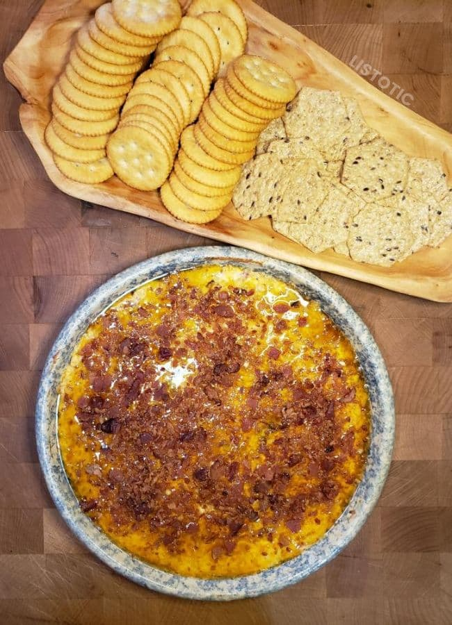 Serve sweet chili cream cheese dip with Ritz crackers.