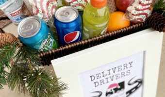 basket of drinks and snacks free for delivery drivers to choose from