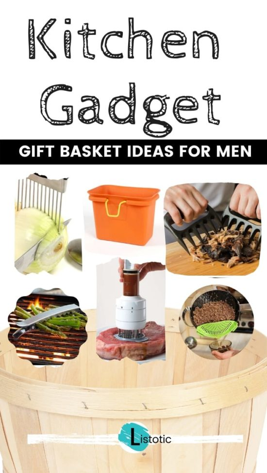 Kitchen Gadget Gift Basket Ideas for Men to use in the kitchen or at the grill all great gift ideas for a cook