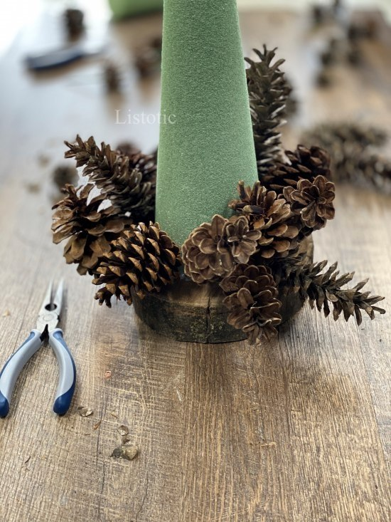 Pinecone tree craft not yet complete