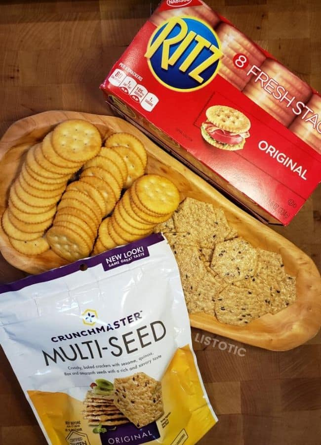 Two options of crackers to dip into sweet chili cream cheese dip - Ritz and gluten free Crunchmaster.