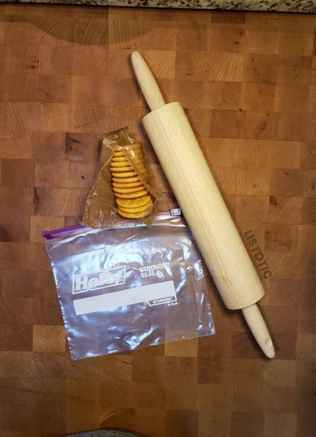 Rolling pin and plastic bag takes the mess out of crushing crackers.