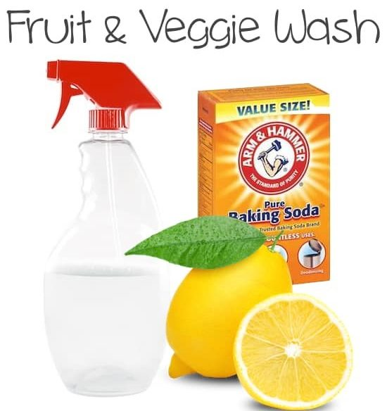 spray bottle, baking soda and lemon ingredients for homemade fruit and veggie wash