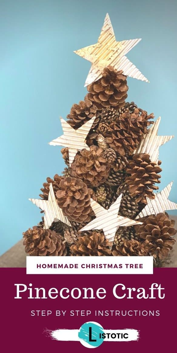 Pinecone tree decorated with rustic cardboard stars