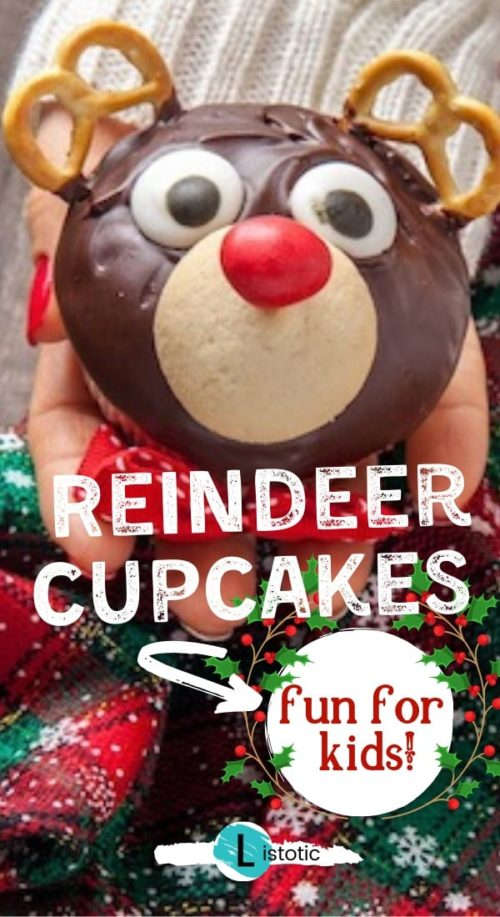 person holding a holiday treat with a cute reindeer face and chocolate frosting, pretzel antlers and m&m nose