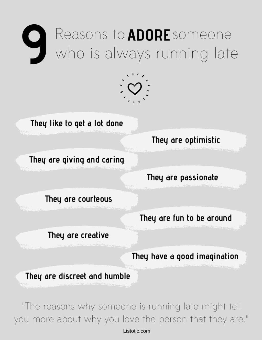 Free printable 9 reasons to adore someone who is always running late