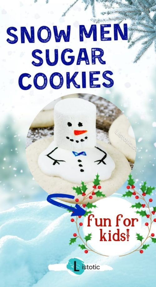 easy fun melted snowmen sugar cookie recipe for kids to make with adults