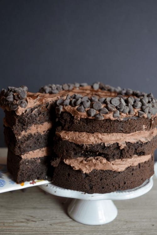 Three layer frosted death by chocolate cake with chocolate chip layered border perfect for the chocolate lover and keto dieter.