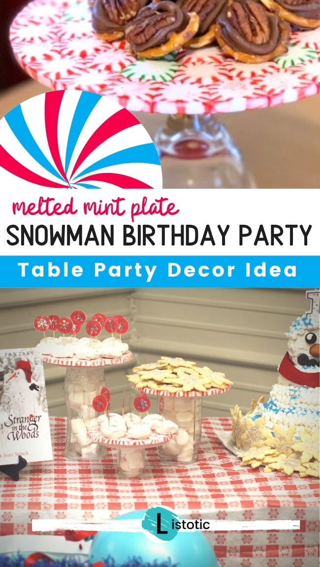 party table with mint plate table decor