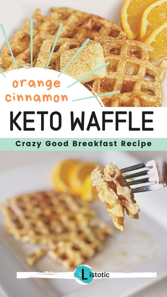 person taking a bite with a fork from a plate of low carb keto waffles made with cheese, egg and orange zest