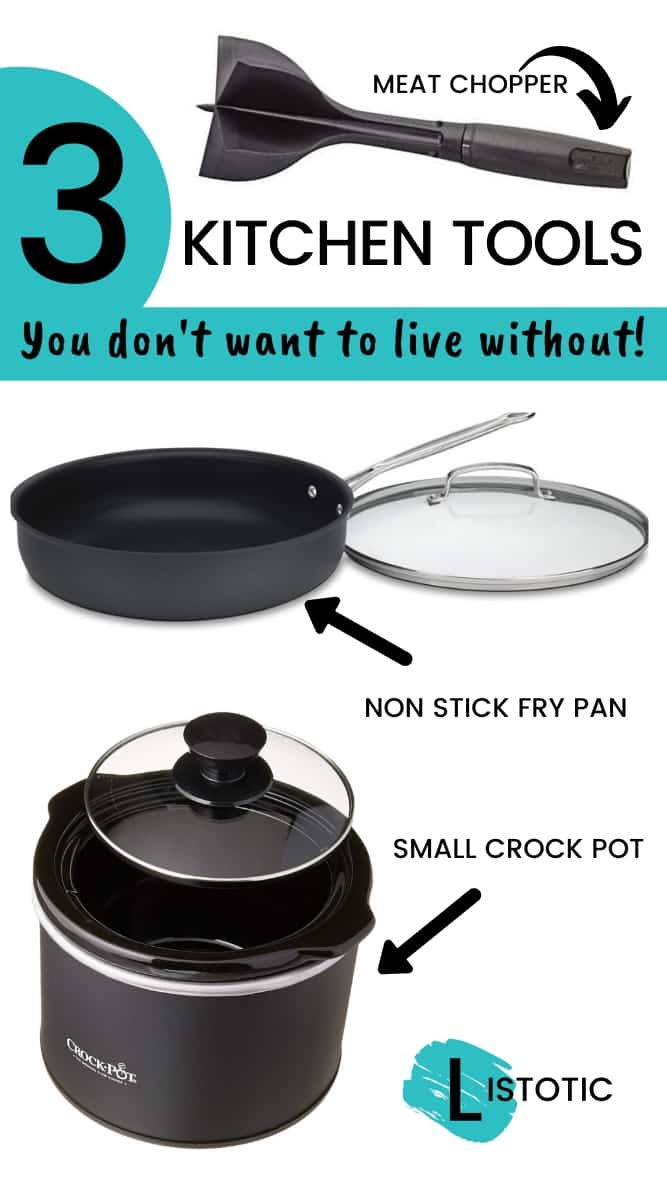 three kitchen tools everyone will want in their kitchen a crockpot a fry pan and a chopper