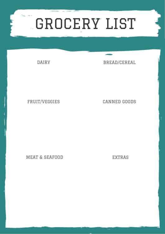 Grocery List printable.