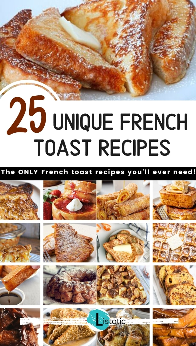 a collage of images featuring unique recipes for french toast