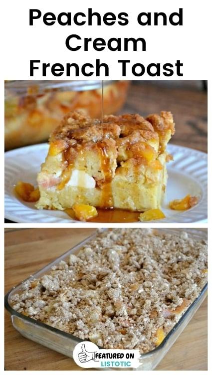 Peaches and cream breakfast casserole.