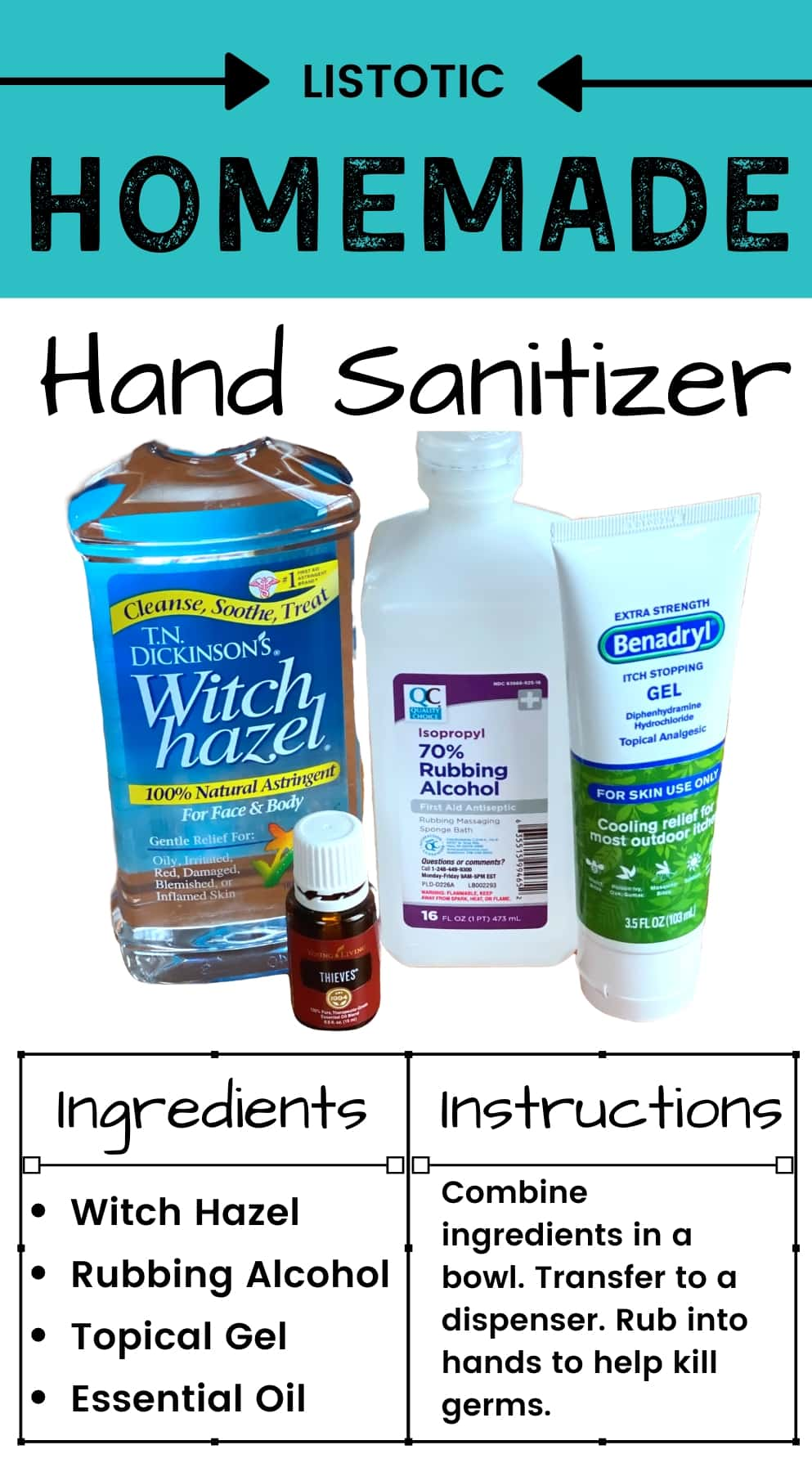ingredients to make homemade hand sanitizer