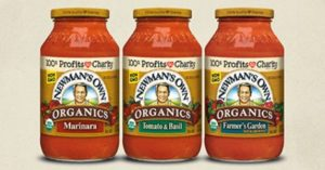 An assortment of organic Newman's Own sauces.