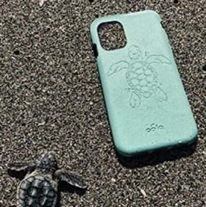 A teal phone case with a wave pattern engraved into the material.