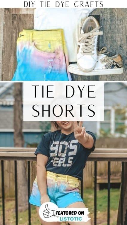 Tie dye crafts jean shorts.