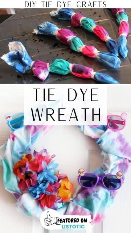 Tie dye crafts summer wreath.
