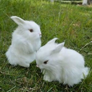 Two realistic Easter bunny decorations on the grass.