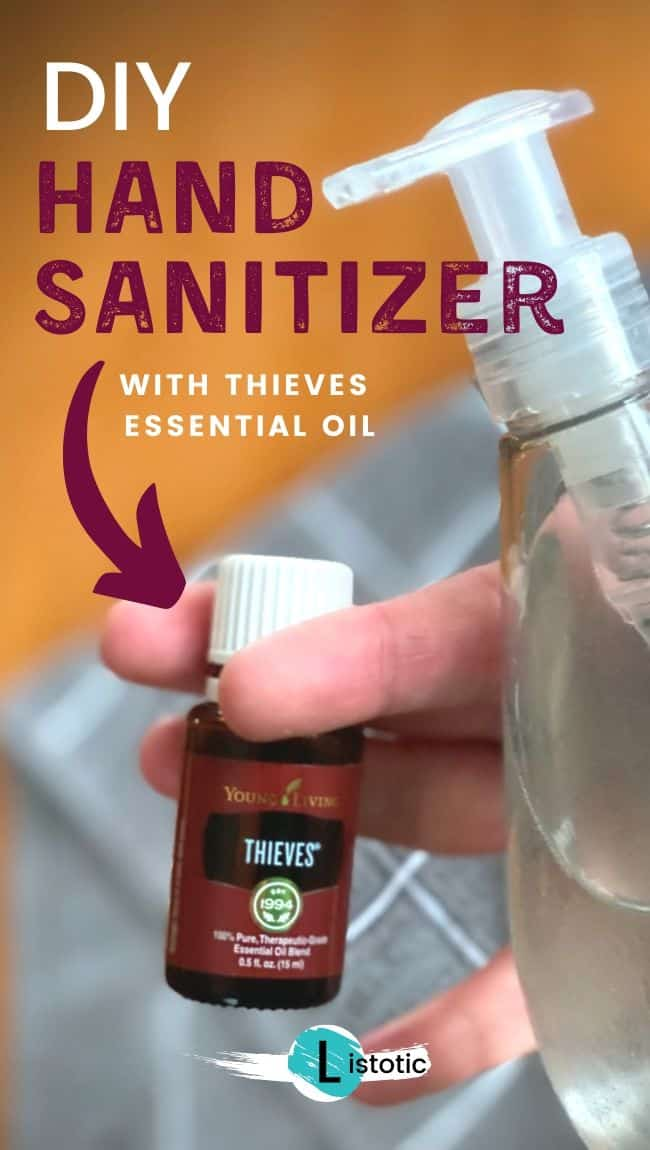 Homemade Hand Sanitizer made with Young Living Thieves Essential Oil