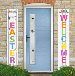 Easter party welcome banners hanging on opposite sides of a blue door.