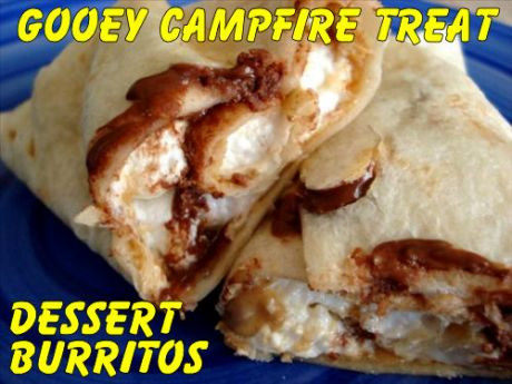 Two campfire dessert burritos stacked on top of each other.