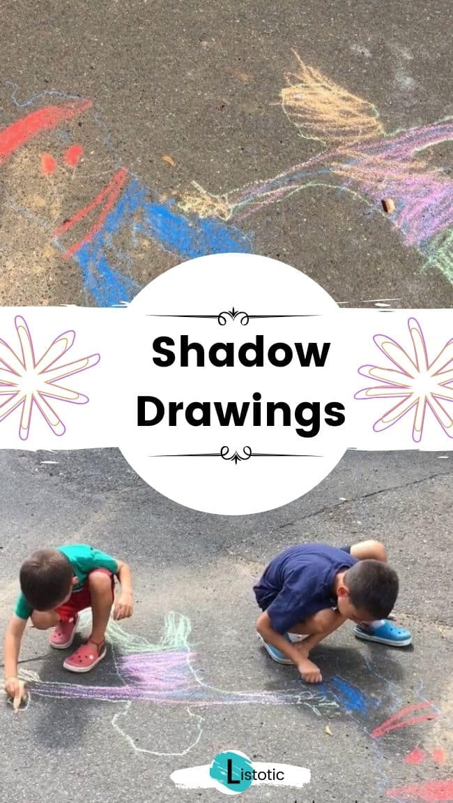 Chalk shadow drawings.