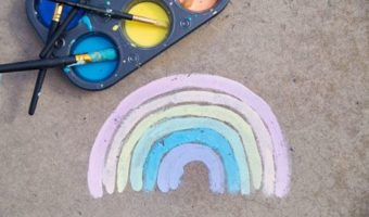 A rainbow painted onto the pavement using sidewalk chalk paint.