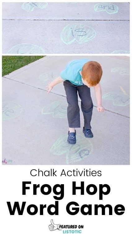 Sidewalk chalk learning game.