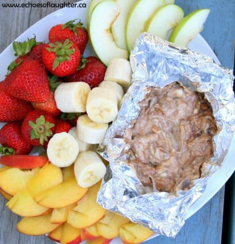 Some campfire cheesecake dip surrounded by arious fresh fruits.