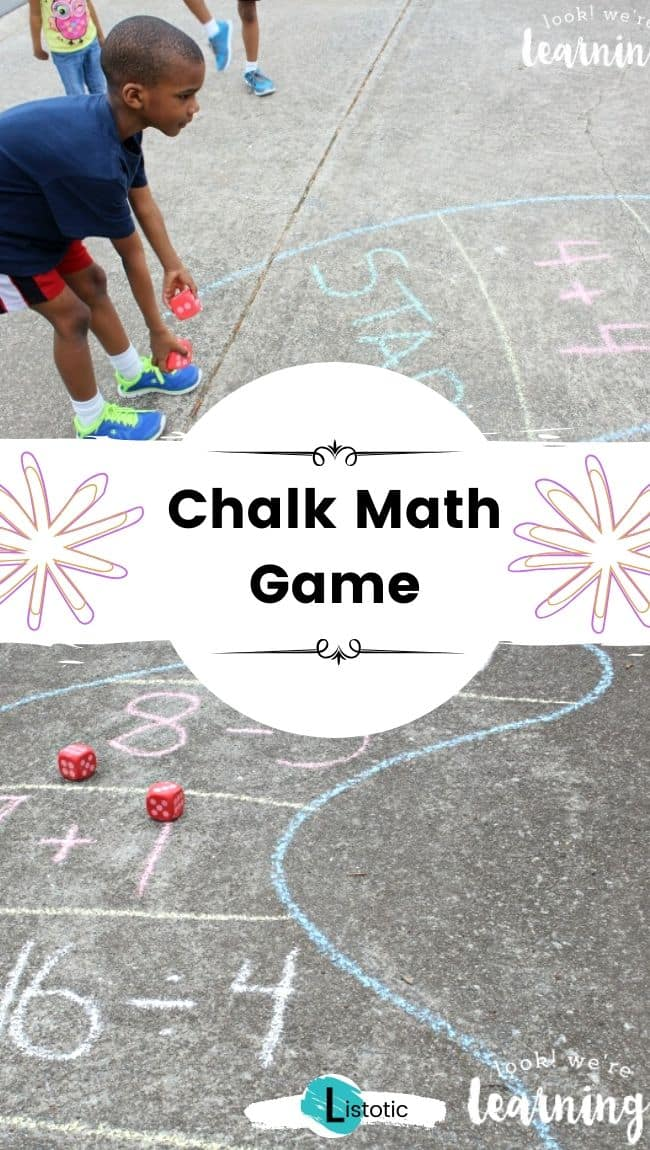 Sidewalk chalk math game.