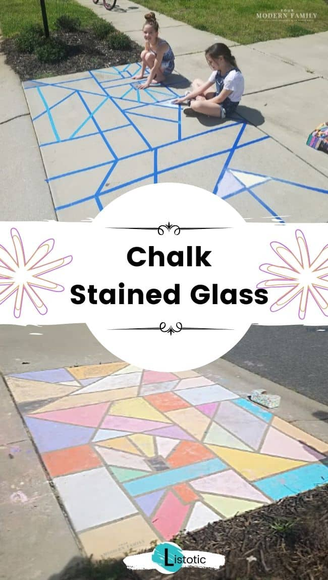 Sidewalk chalk stained glass.