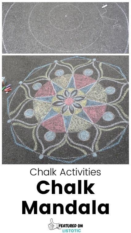 Sidewalk chalk art mandala.