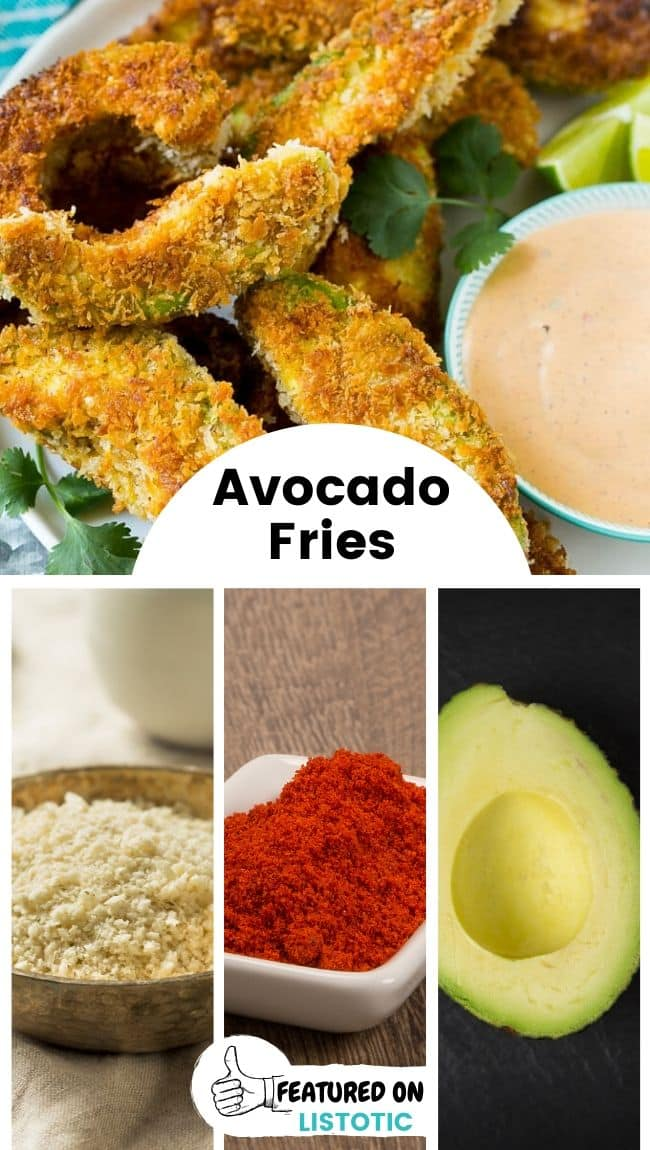 Several avocado fries displayed on a plate surrounding a small bowl of dipping sauce.