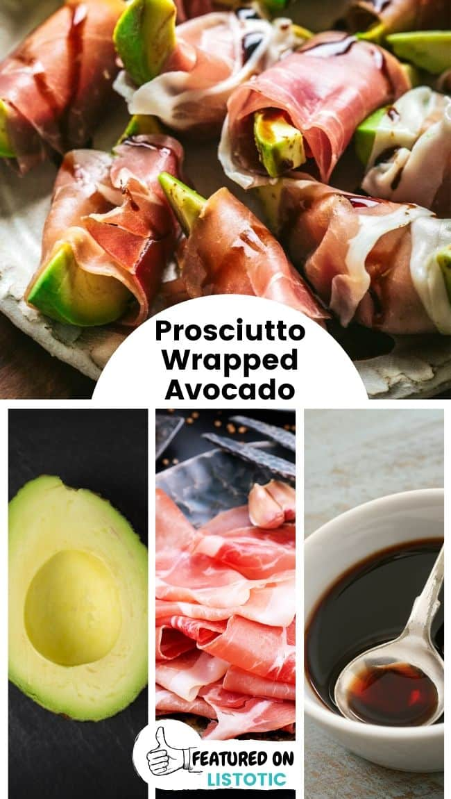 Several prosciutto wrapped avocados displayed on a plate.