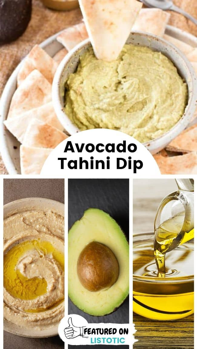 A bowl of avocado tahini dip served with pita bread.
