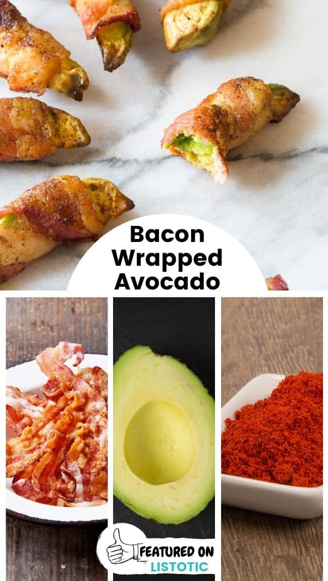 Several bacon wrapped avocados displayed on a plate.
