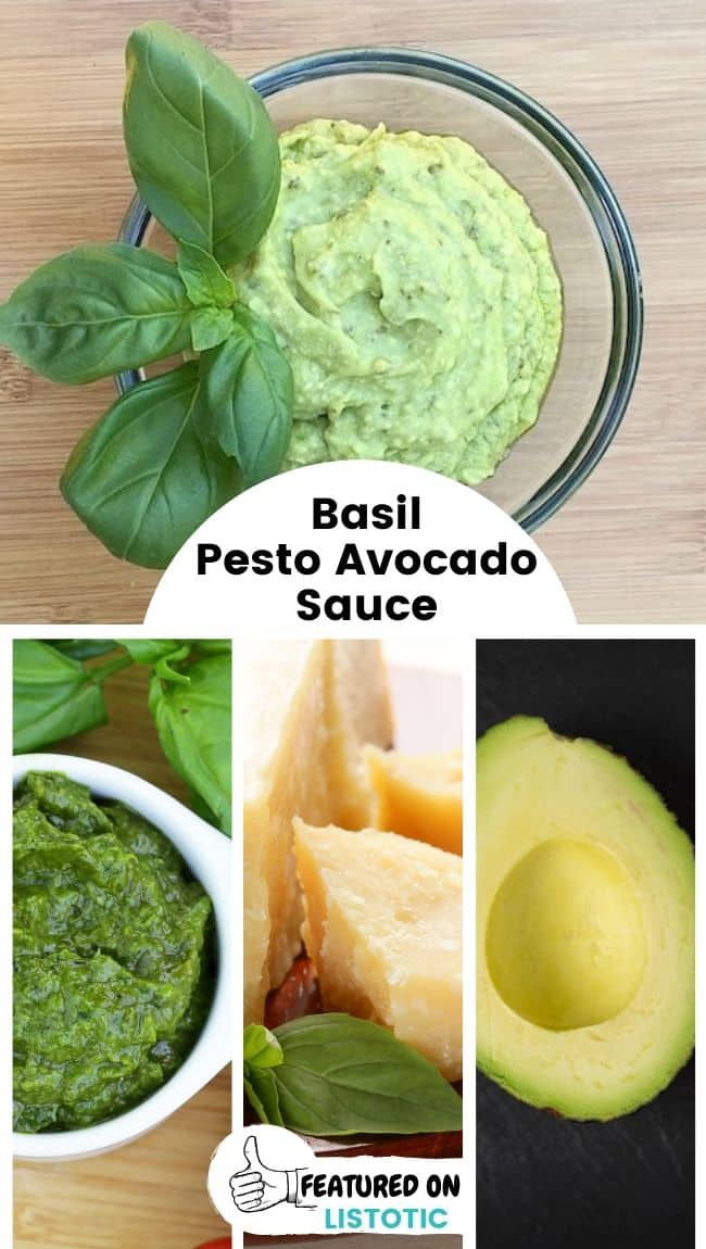 A bowl filled with basil pesto avocado cream sauce garnished with basil leaves.