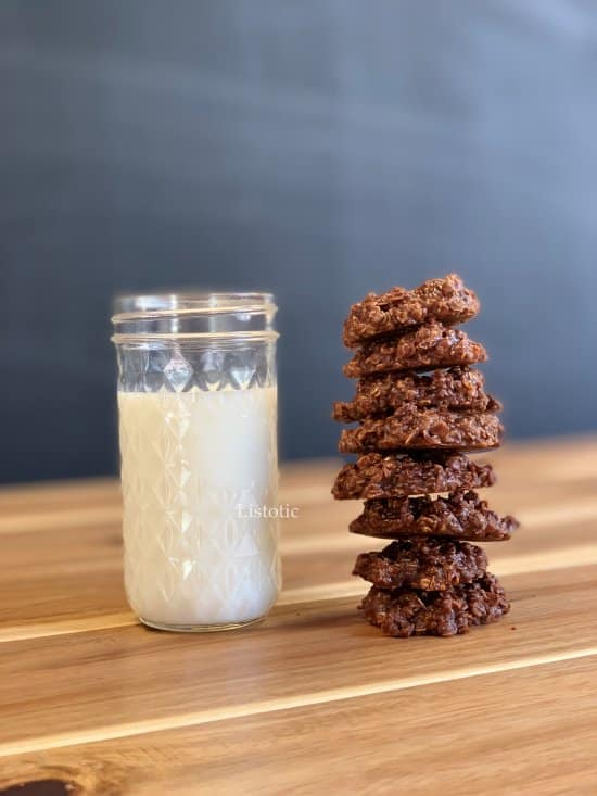 no-bake chocolate cookie with a glass of milk.