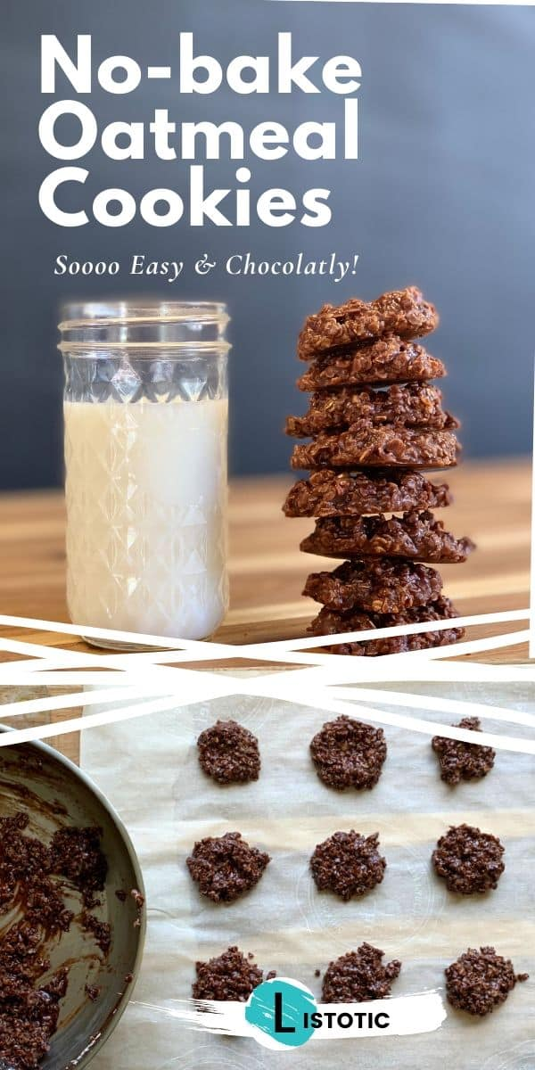 no bake chocolate cookies and milk dropped on parchment paper to cool off