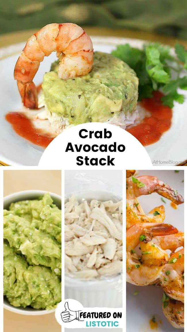 A crab avocado appetizer stack displayed on a plate.