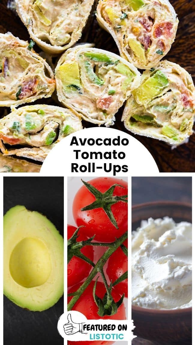 Several creamy avocado and tomato roll-ups displayed next to each other.