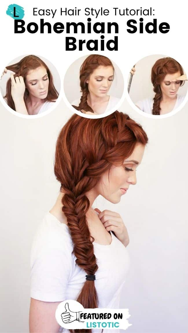 Bohemian side braid hairstyle.