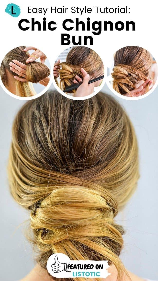 Chic chignon bun hairstyle.