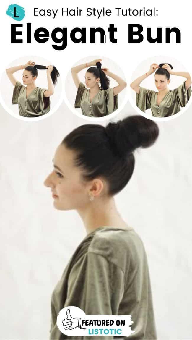 Elegant bun hairstyle.