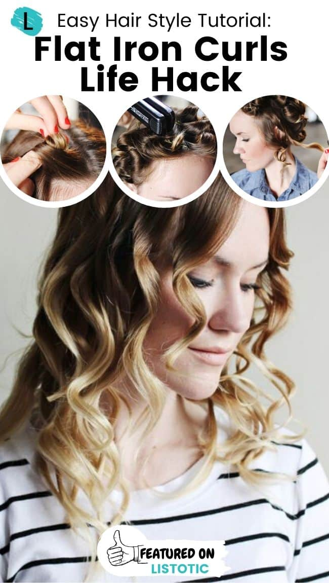 Flat iron curls hairstyle.