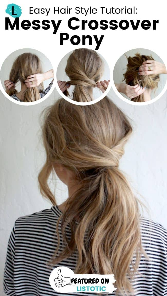 Messy crossover ponytail hairstyle.