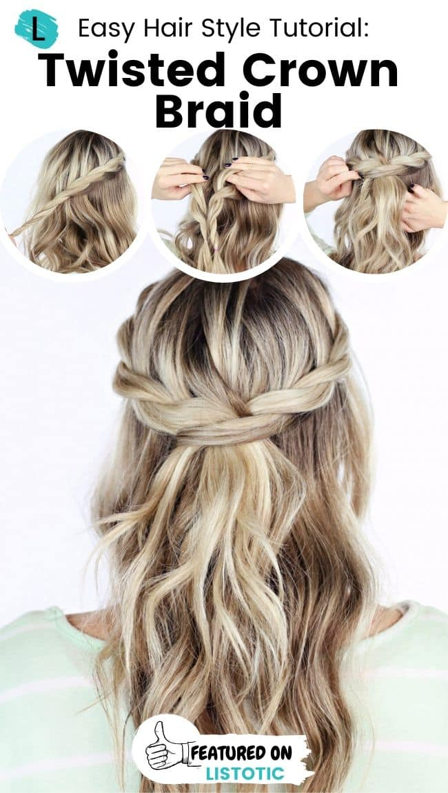 Twisted crown braid hairstyle.