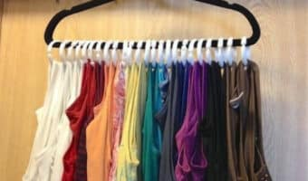 tank tops on a hanger using shower curtain hooks